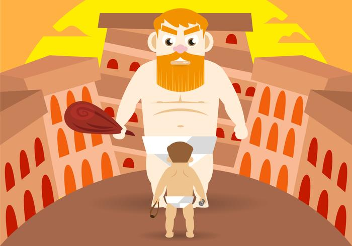 David et Goliath Vector Illustration