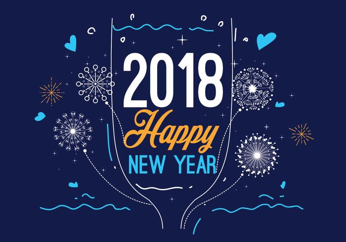 Happy New Year 2018 Blue Color Vector