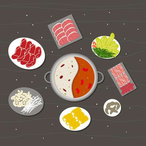 Hotpot e ingredientes Vector