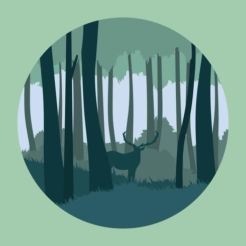 Abstract Forest With Deer illustration