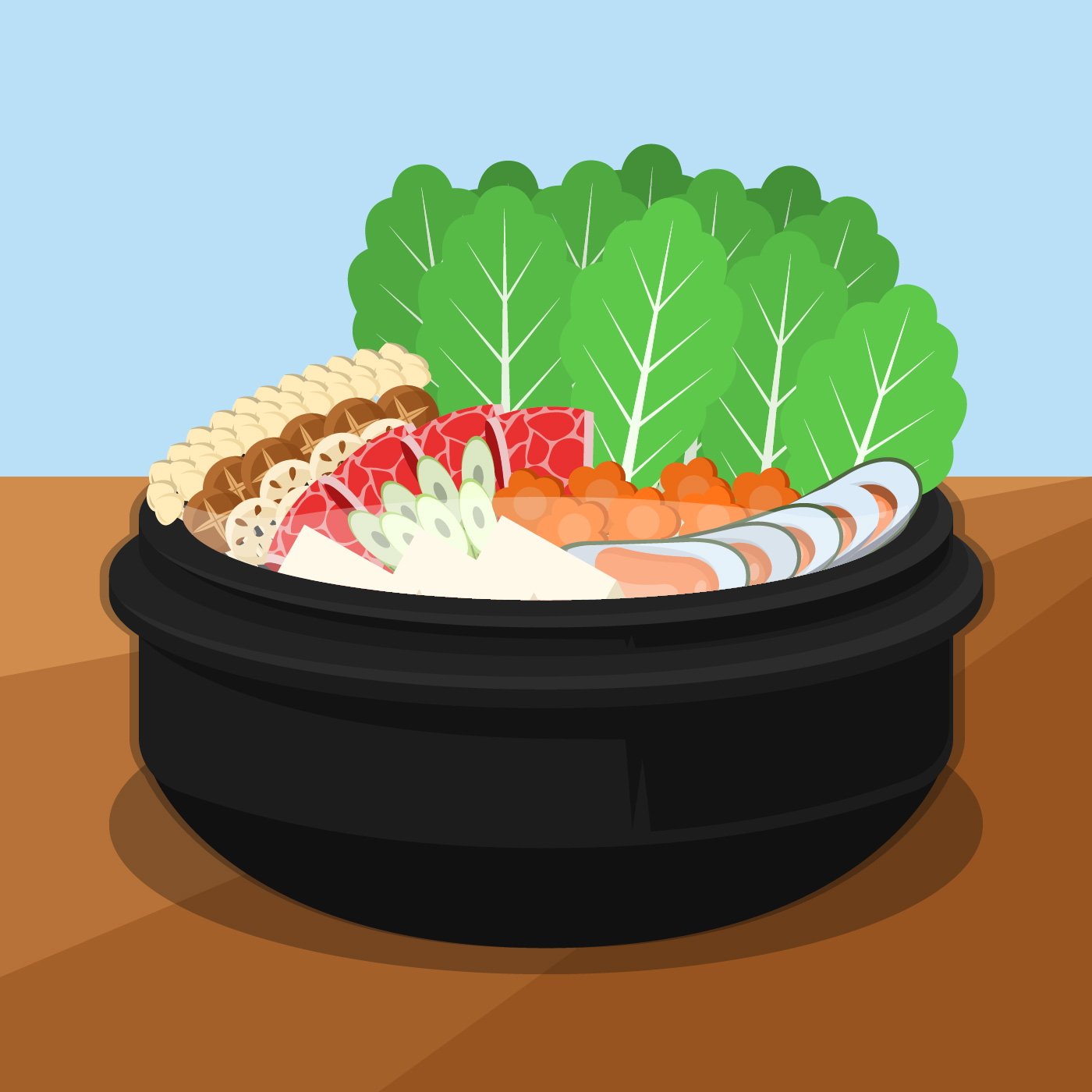 Hotpot And Ingredients Vector Illustration Download Free