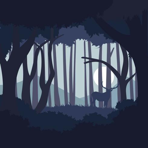 Dunkelblaue abstrakte Waldillustration