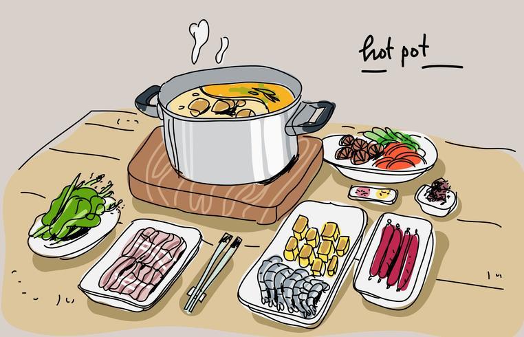 Ingredientes de Hotpot en la mesa Dibujado a mano ilustración vectorial