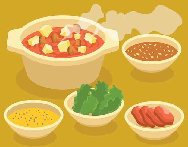 Ilustración de Hotpot + Ingredientes