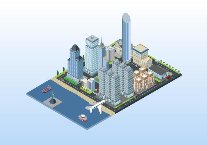 Isometric New York City Background Illustration