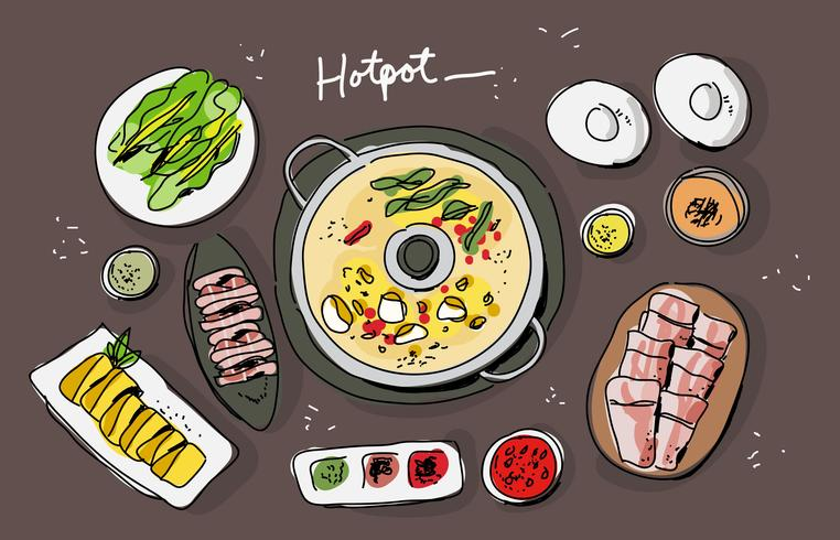 Hotpot Ingredients Vista superior dibujado a mano ilustración vectorial