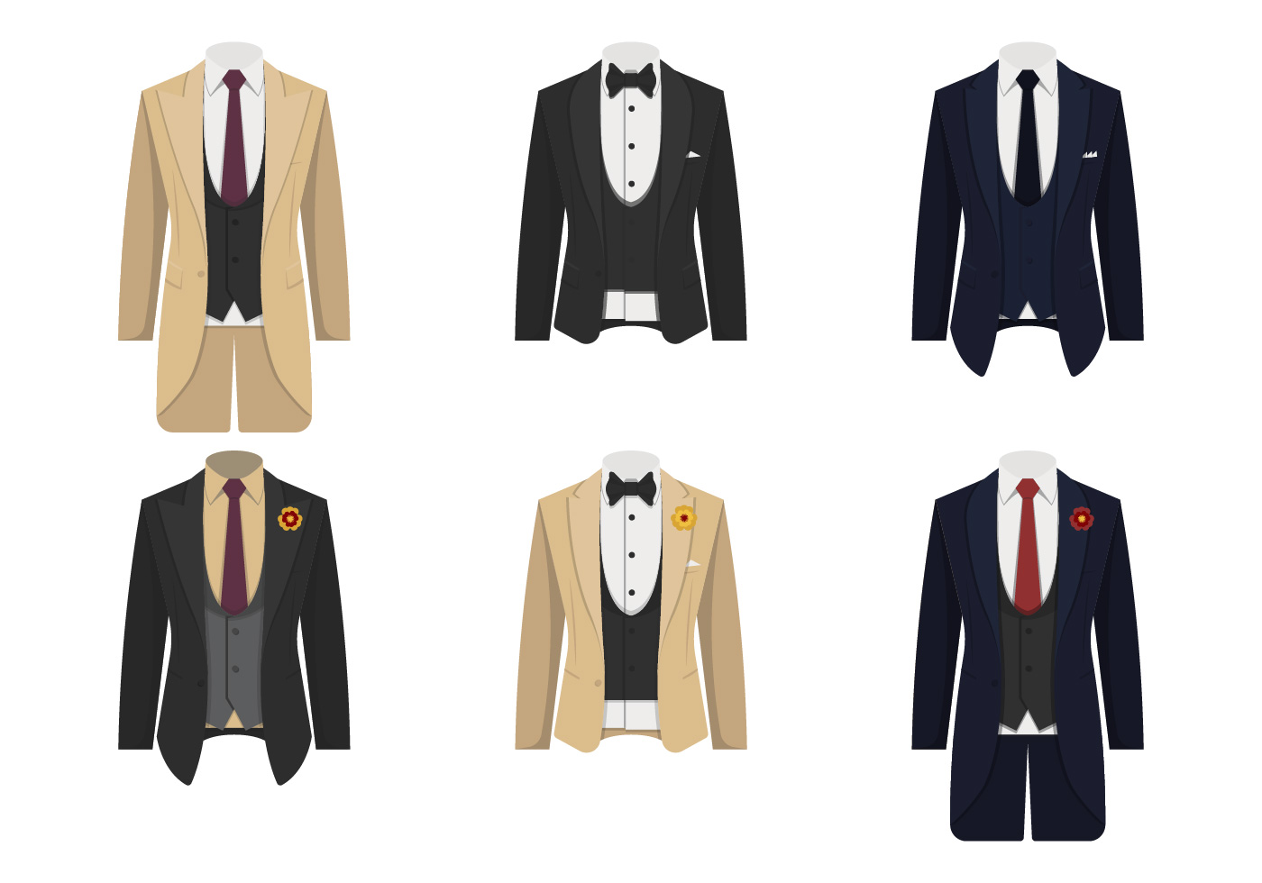 Collection Of Tuxedo Suit Vector Illustration Download