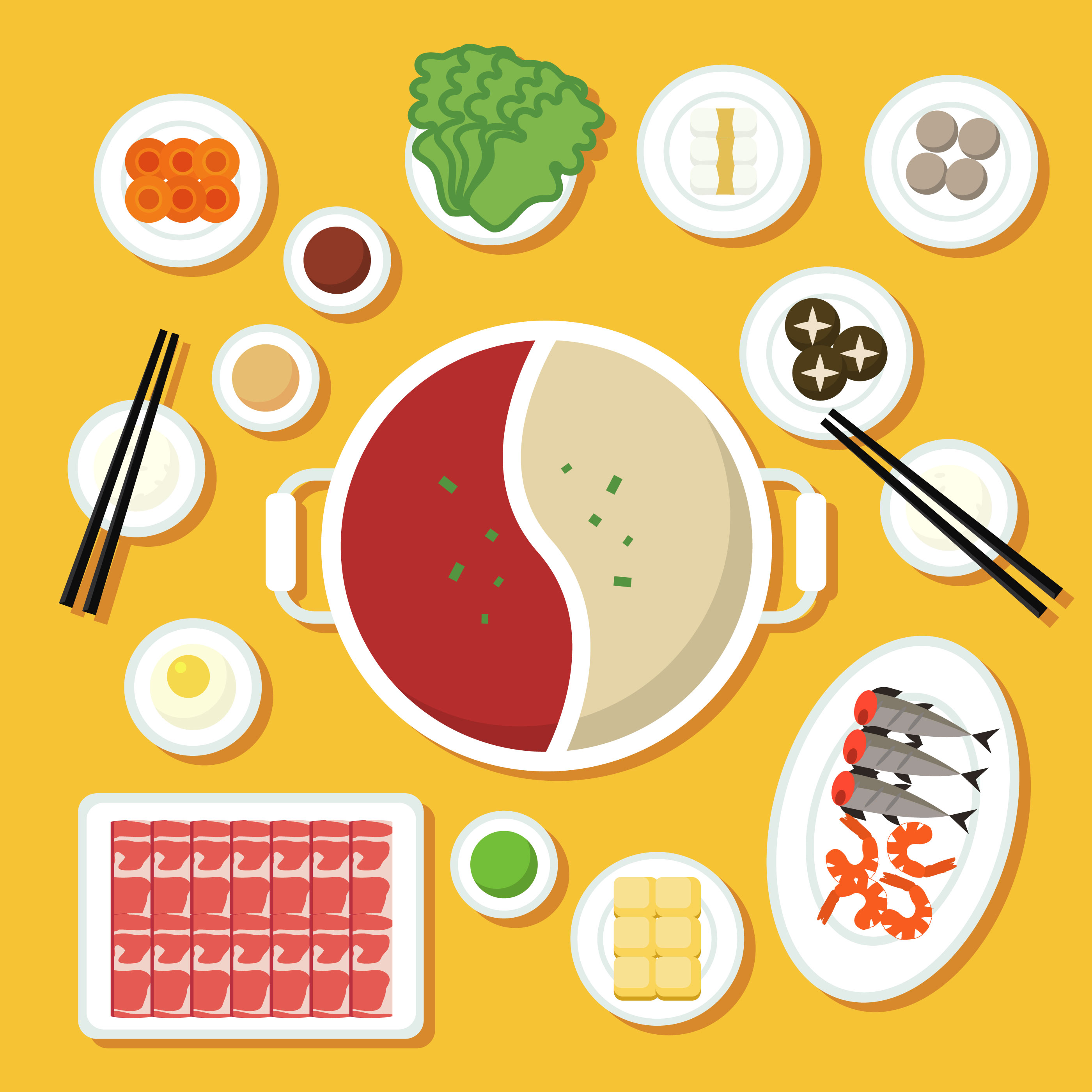 Hotpot And Ingredients Illustration Download Free Vector