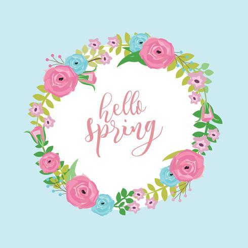 vector de guirnalda de primavera floral