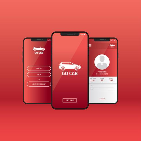 Mobile App Gui Online Taxi Vector