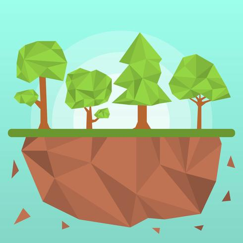 Platte veelhoek bomen vectorillustratie