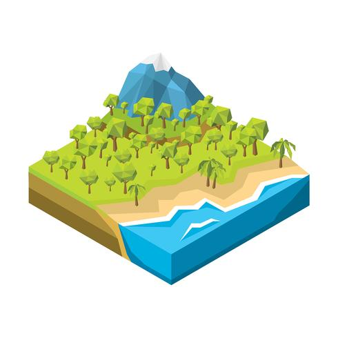 Vector de tierra de bosque de Low Poly