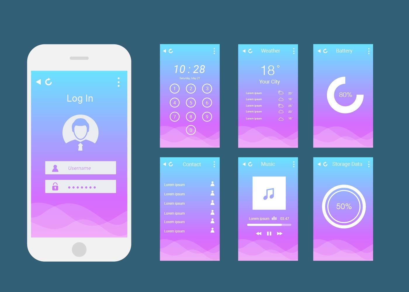 Basic Ui Mobile Phone Vector - Download Free Vectors ...
