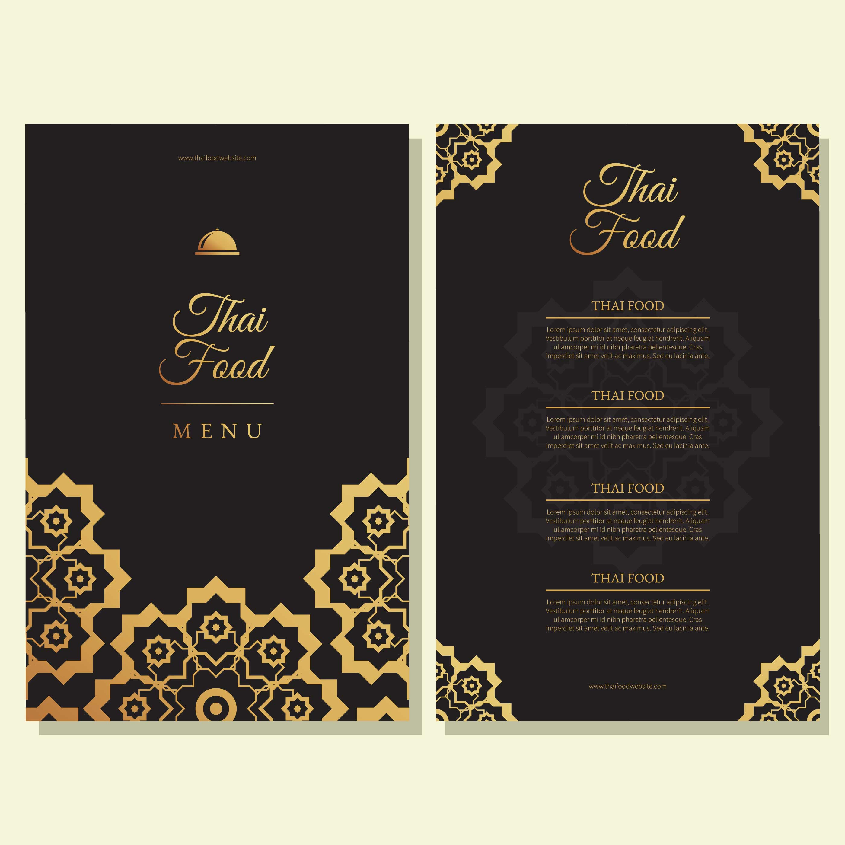 Thai food restaurant menu template download free vector for Artistic cuisine menu
