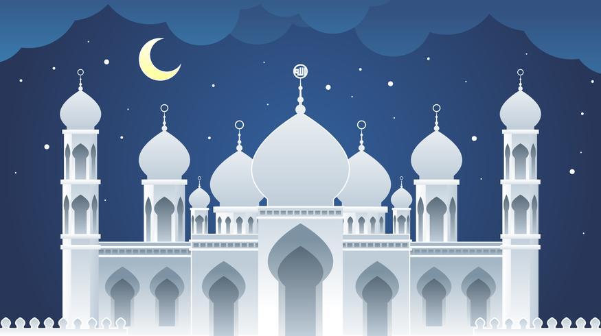 Moskee papier kunst landschap Vector