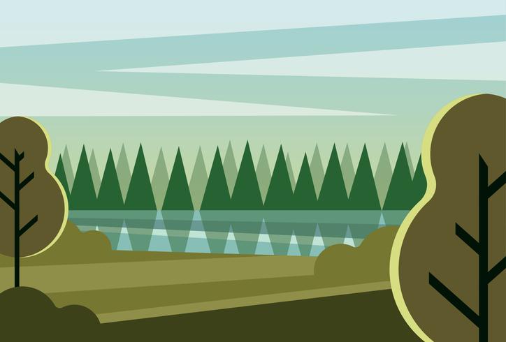 Saubere und einfache moderne abstrakte geometrische Waldlandschaft morgens