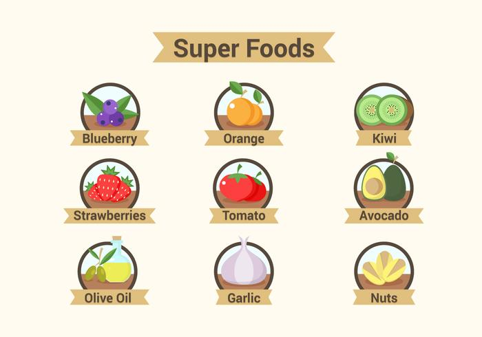 Illustrations de Super Foods Badges