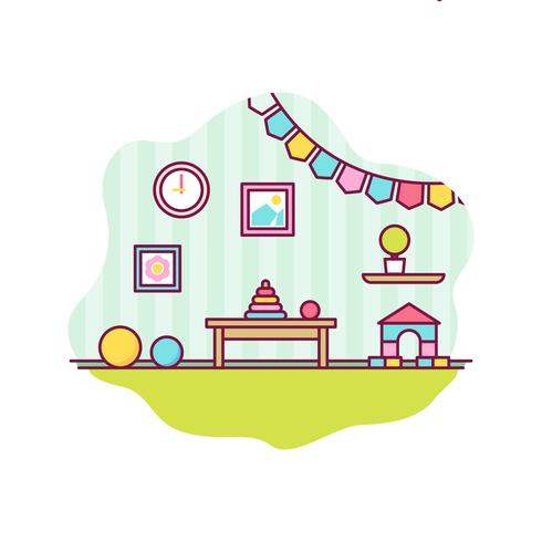 Vector de decoración de habitación de niños