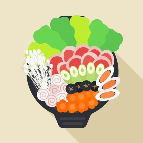 Läckra hetpot och ingrediensvektorer