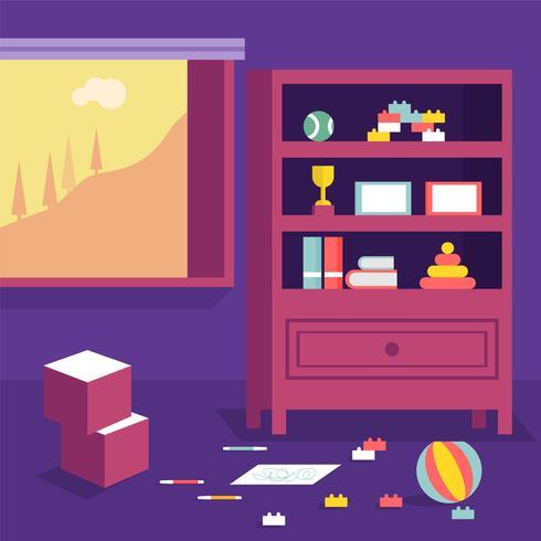 Ilustración de Vector de decoración de habitación de niños