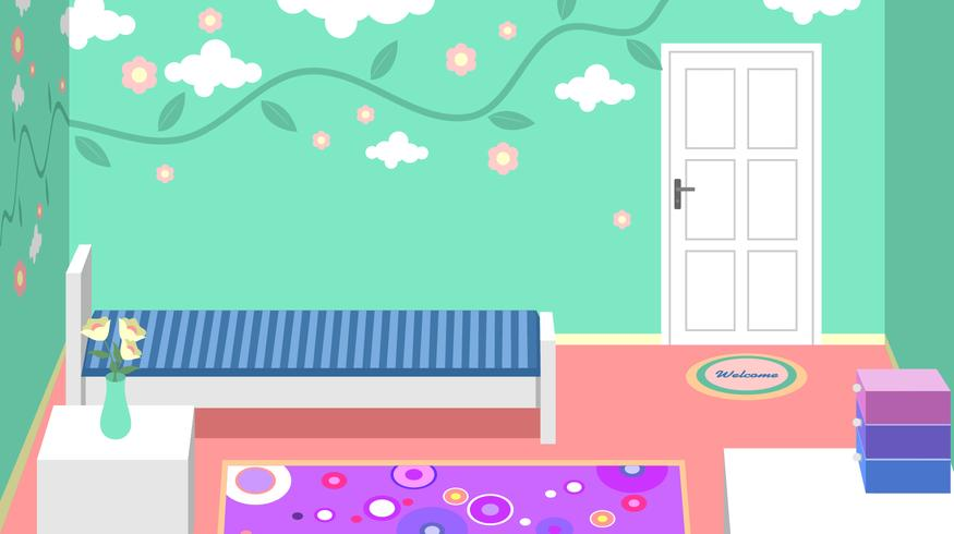 Filles Room Decor Vector
