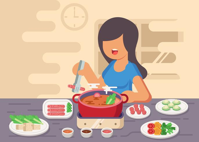 Young Lady Prepares Hotpot Illustration