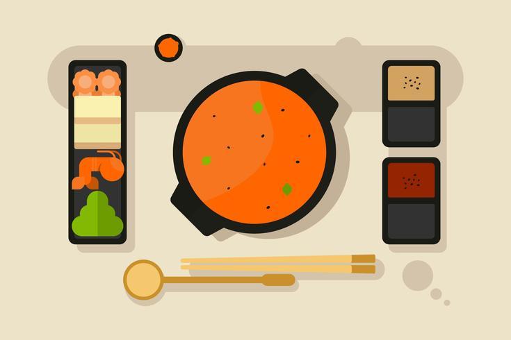 Hotpot- en ingrediëntenvectoren