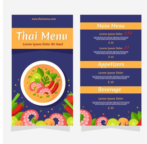 Thailand Food Menu Vector