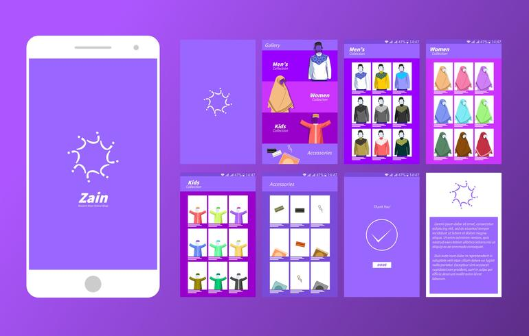 Moslem Wear Boutique en ligne Mobile App Ui Vector