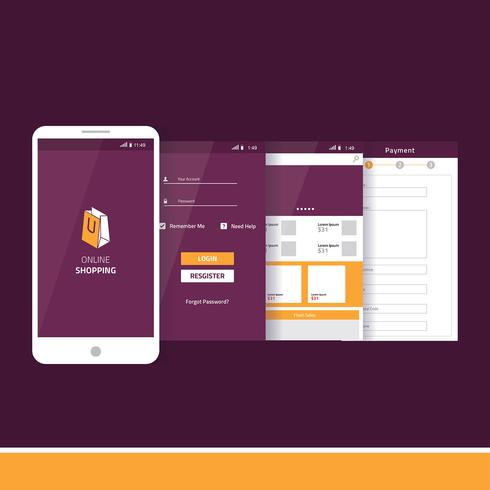 Mobile App Gui Online-Shopping-Vektor