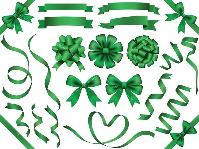 A set of assorted green ribbons.