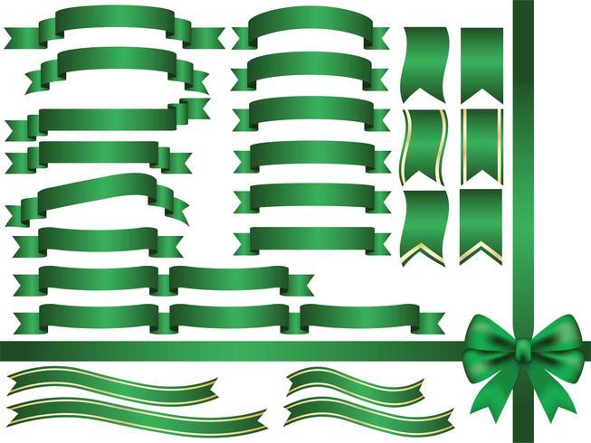 Un conjunto de cintas verdes surtidas. vector