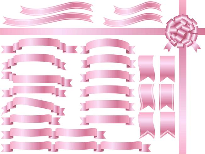 A set of assorted pink ribbons.