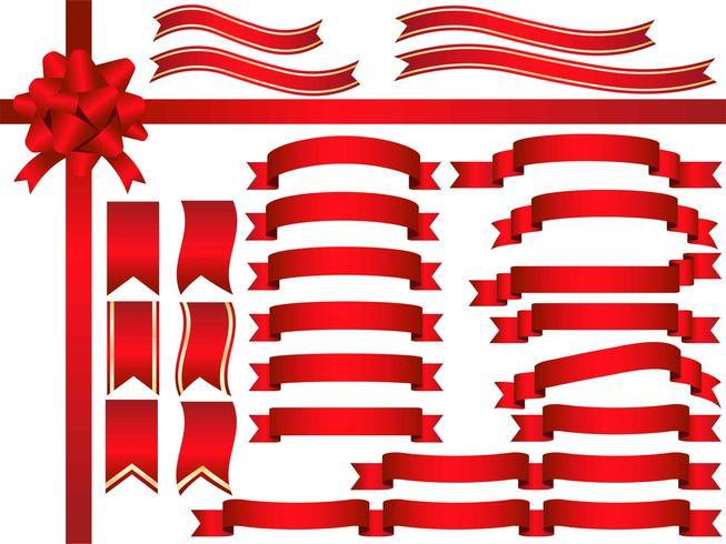 Um conjunto de fitas vermelhas variadas.