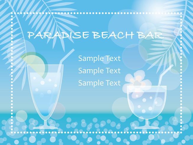 Um vetor de fundo de verão / quadro de mensagens com bebidas tropicais.