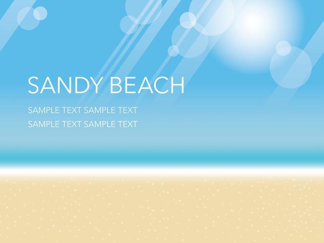 Eine nahtlose Vektorsommer-Hintergrundillustration mit sandigem Strand, blauem Himmel und dem Ozean. vektor