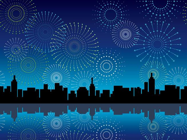 A seamless cityscape and fireworks, vector illustration.