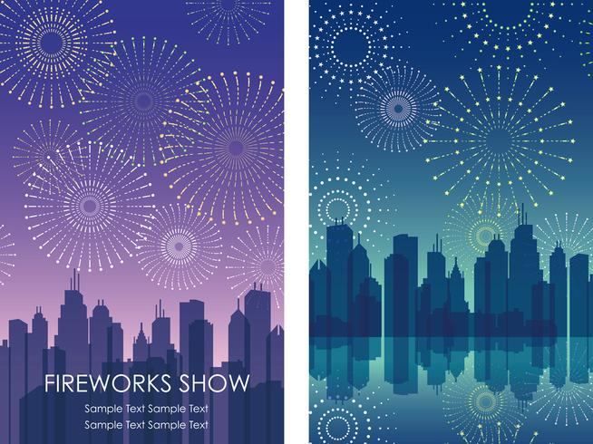 A set of two vector fireworks background illustrations with cityscapes.