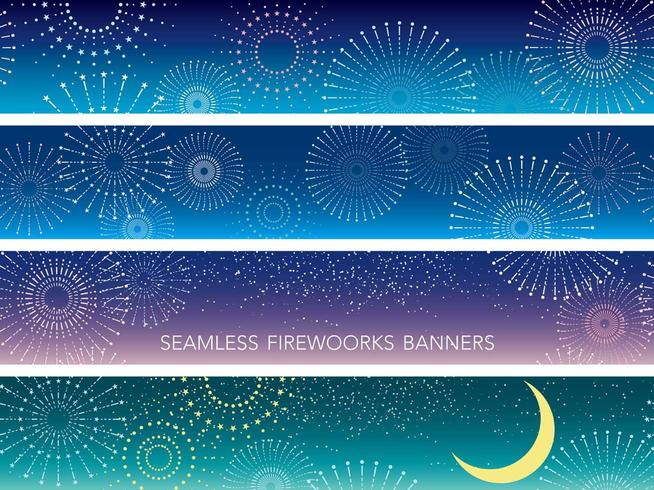 A set of four seamless fireworks background.