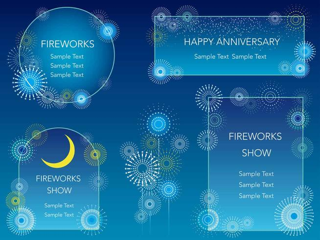 A set of four fireworks message frames.
