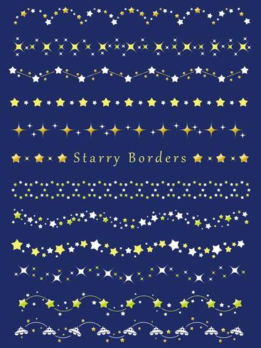 A set of assorted borders with various star patterns.
