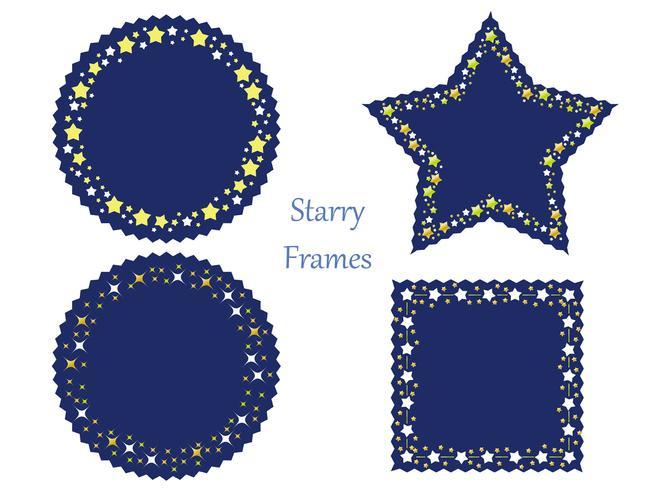 Un set di quattro cornici assortite con vari motivi a stella. vettore