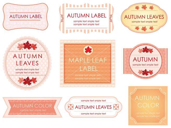 Un ensemble d'étiquettes assorties en couleurs d'automne.