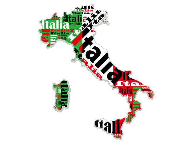 Een kaart van Italië.