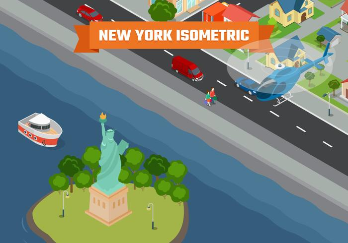 Illustration de fond isométrique de New York City