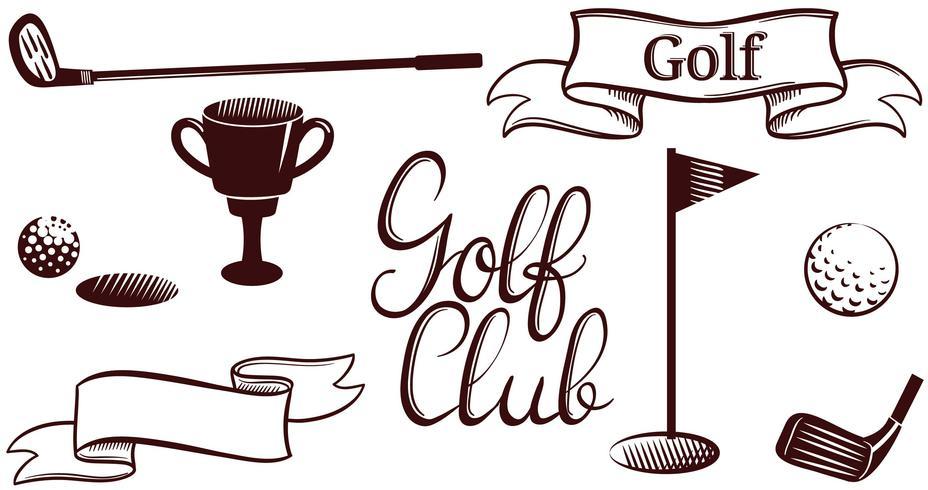 Vectores de golf Vintage