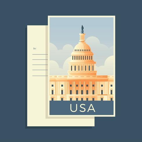 Kapitol, das Amerika-Postkarten-Vektor errichtet