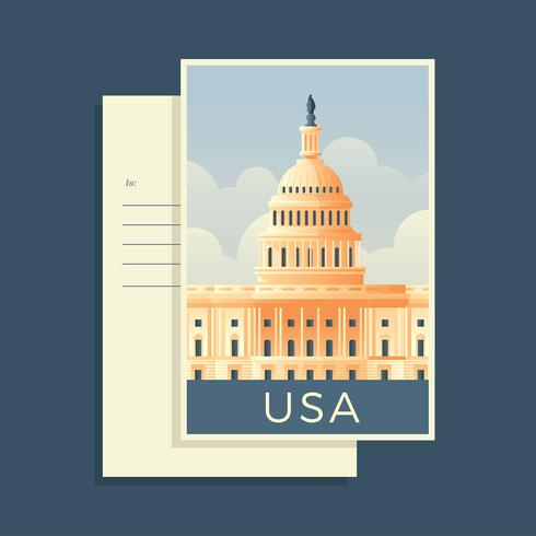 Vecteur de carte postale Capitol Building America