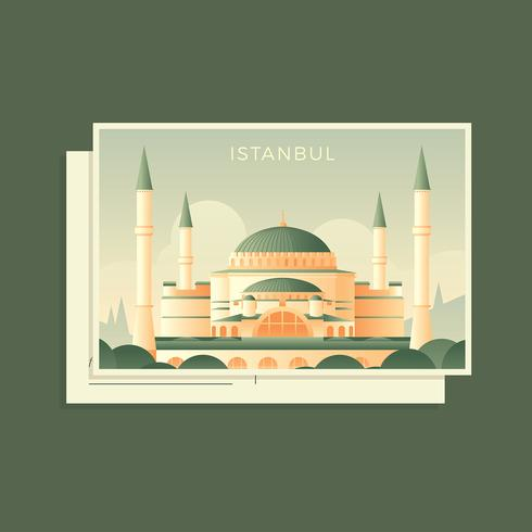 Postcard Of Hagia Sophia Turkey Vector