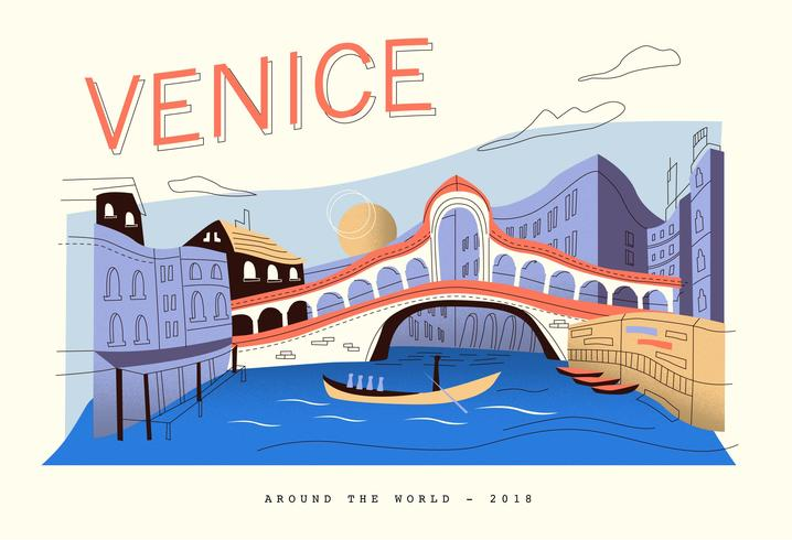Postkarte Venedig-Landschaftsvektor-flache Illustration